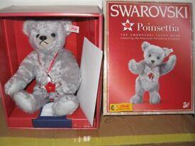 Steiff Bear with Swarovski Poinsettia Ornament