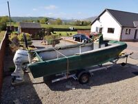 16ft cathedral hull boat with 40hp honda 4 stroke and trailer