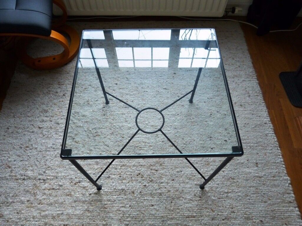 Steel Iron And Glass Top Square Coffee Table
