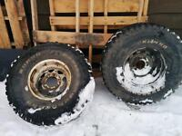 Two tires 35x12.50 R 15 LT with 6 holes rimes
