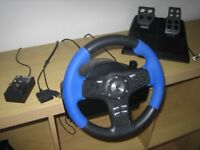 Logitech Driving Force EX Steering Wheel + Foot pedals For PS