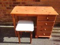 Small pine dressing table and pink stool