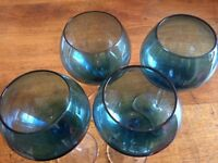 4 Large Wine Glasses, blue/clear glass with etched star design