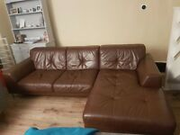 Brown leather left sided corner sofa.