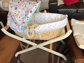 Moses Basket with accessories and stand