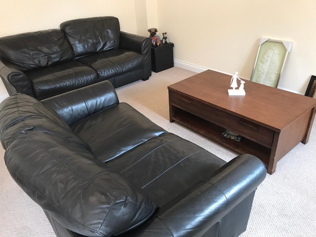 Grain Leather Sofas x 2 (1x3 & 1x2 Seater) | in Bridgwater ...