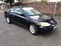 2002(02)HONDA CIVIC COUPE 1.7 VTEC BLACK,LONG MOT,CLEAN CAR,GREAT VALUE!
