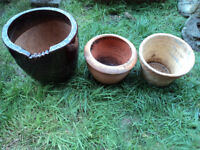 THREE GARDEN POTS - ONE CERAMIC AND TWO CLAY IDEAL FOR PLANTING FLOWERS AND HERBS