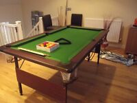 Pool Table with chairs and Cue stand and accessories