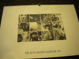 A 1991 AUTOTRADER CALENDAR 30X18 INCH IN MINT CONDITION WITH ENVELOPE