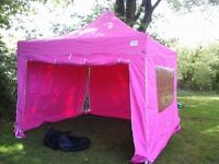 SOLD: Pink pop-up waterproof/flameproof Gazebo (3m x 3m) with 4 sidewalls, frill and Weights