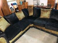 Black and. Gold. Versacce style. Corner. Sofa.