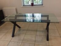 Habitat DUBLIN 6 Seater Walnut Stain And Glass Dining Table