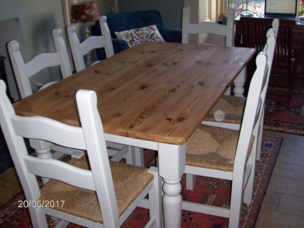 Solid pine farmhouse table & 6 chairs, painted in Farrow & Ball