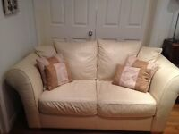 Cream Leather sofas, 4 seater and 3 seater free to uplift