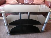 TV Stand - Black smoked glass and brushed chrome