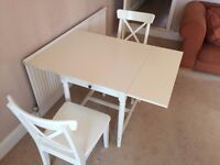 White IKEA Expandable Table and 2 Chairs