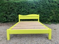 Big Table Beds Solid Pine UK Double Size Bed Frame Bright Yellow