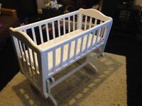 Baby Glider Rocker Crib (White)