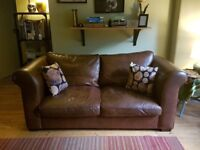 Laura Ashley Burgess Sofa in Brown, 100% Cattle Hide, Seats 2/3