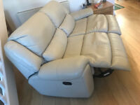 Cream leather 2 seater recliner sofa with 2 electric recliner sofa chairs - Quick sale wanted