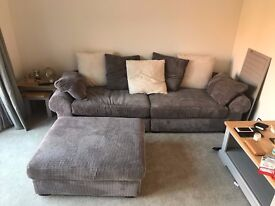 SCS Radley Grey Four Seater Scatterback Sofa and Loafer Footstall - Bargain Price - RRP £2,100!