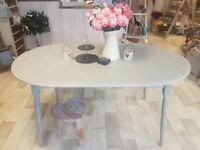 Shabby Chic Grey Painted Semi Oval Dining Table