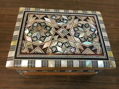 Egyptian Handmade Wood Jewelry Box Inlaid Mother of Pearl (5.4
