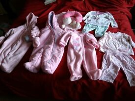 Baby girl newborn & 0-3mths snowsuits outfit pj sets headsupport cellular blanket collect ml5