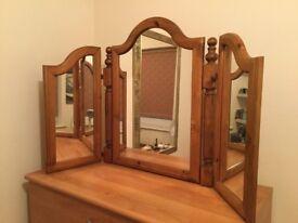 Antique pine dressing table mirror.