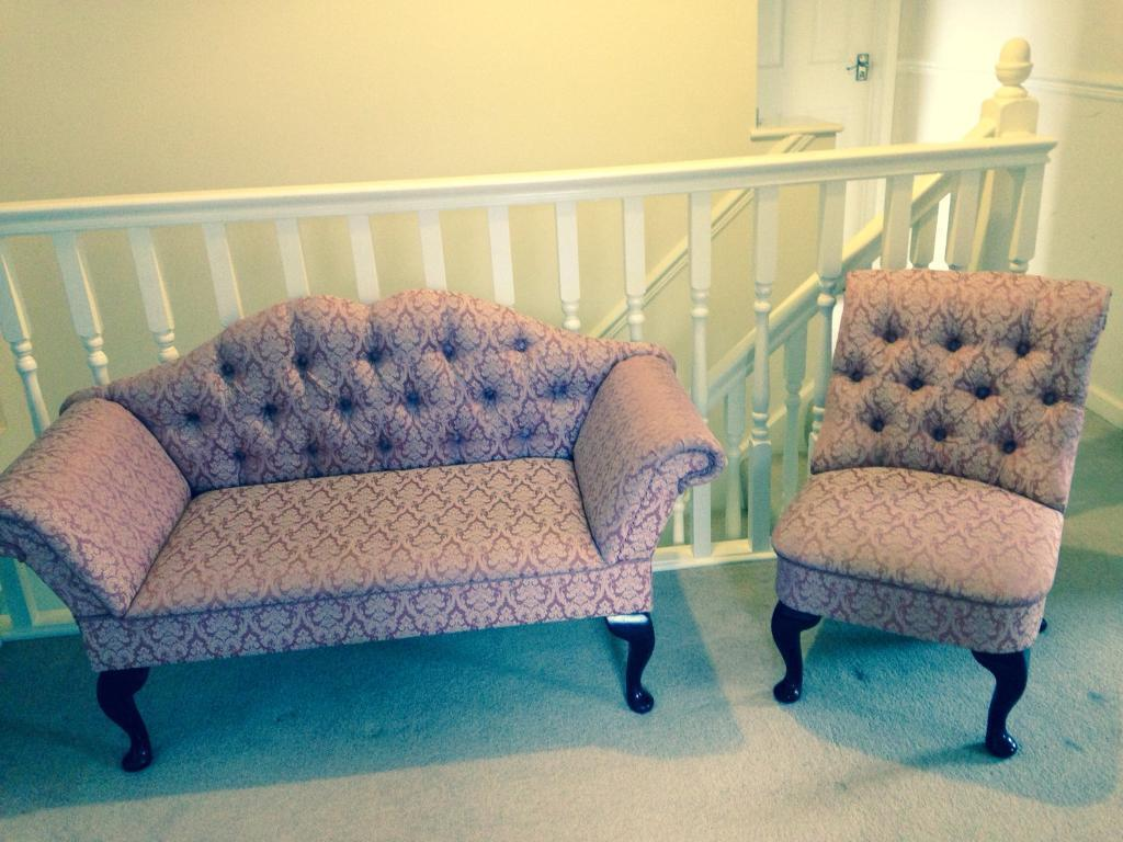 french style buttoned back, roll arm love seat sofa and chair