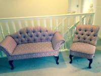 French style buttoned back, roll arm love seat sofa and chair.