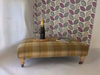 *** STUNNING MOON MUSTARD CHECK WOOL XX LARGE FOOTSTOOL/COFFEE TABLE NEWLY UPHOLSTERED L@@K WOW ***
