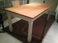 Oak and painted extendable dining / kitchen table