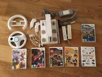 Nintendo Wii - White Console, Quad Remote Charging Stand, 6 Games