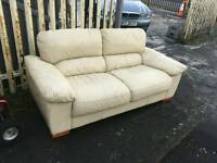 2 seater sofa in cream leather £85 delivered