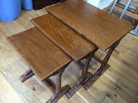 Charming antique nest of tables in solid wood