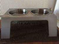 Elevated dog feeding stand with 2 metal dog bowls- FREE for pickup only