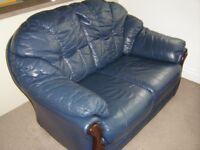 Blue Leather Sofa+armchairs