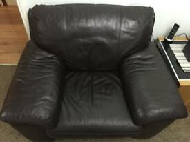 Single seater leather sofa dark brown
