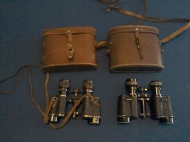 French Vintage binoculars with field cases.