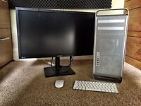 """Apple Mac Pro + 27"""" Samsung Monitor + Bluetooth Keyboard + Mighty Mouse"""
