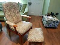 Vintage Retro Style High Back Armchair Recliner Fireside And Footstool Bedroom Chair