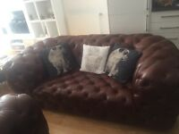 On sale NEW DFS leather chesterfield sofa