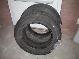 2 Bridgestone Blizzak WS70 Studless Winter Tires * 215 65R16 98T * $60.00 for 2 .  M+S / Winter Tires ( used tires )