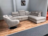 Superb Corner Sofa Bed in Grey nice fabric with swivel chair ** MEGA DEAL**