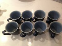 Eight Denby Blue Jetty Mugs