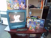 "Blue Tv VCR combo 14"" & Remote with Loads of Disney Videos Delivery Available £15"
