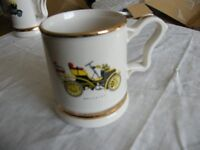 Ceramic ½ pt Prince William Pottery vintage car tankard with gilt banding