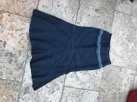 Ladies navy blue linen biased cut skirt size 10/12 with embellished beading on front £10